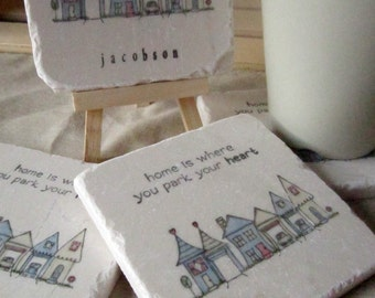 Personalized Tile Coasters - Home is Where Your Park Your Heart - Housewarming Gift