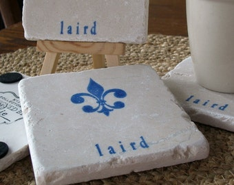 Personalized Fleur de Lis Tile Coasters - Absorbent Tile Drink Holders - Party Hostess Gift - Royal Blue