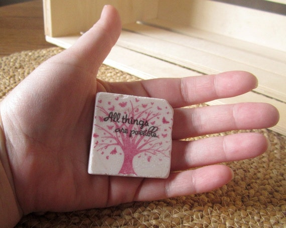 All Things are Possible Worry Stone - Soothing Stone - Sympathy Gift - Pink Tree Design