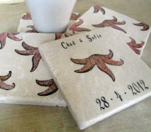 Starfish Wedding Favor Coasters - Personalized Beach Party Decor - Set of 25