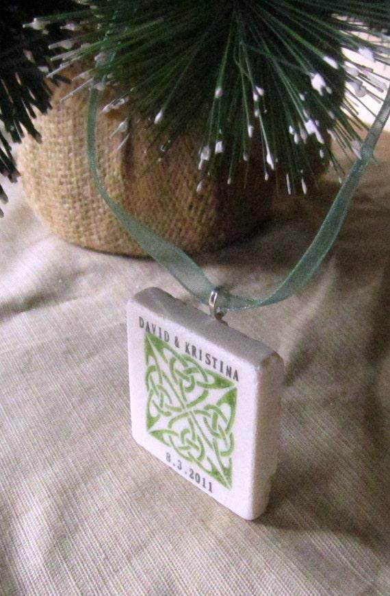Personalized Celtic Knot Ornament, - Emerald Green - Gift Box