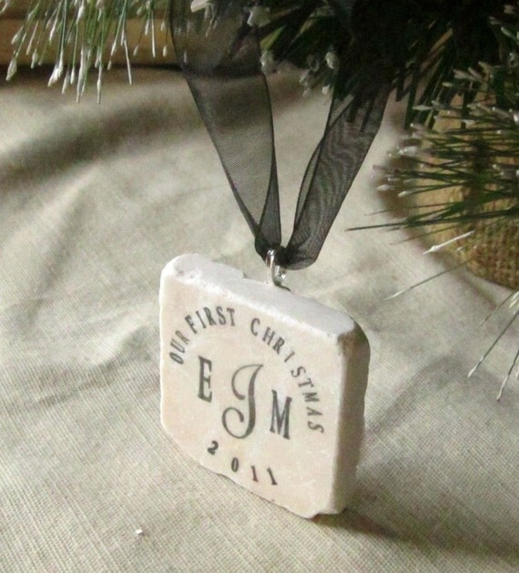 Our First Christmas Custom Ornament - Monogram with Year Design - Gift box