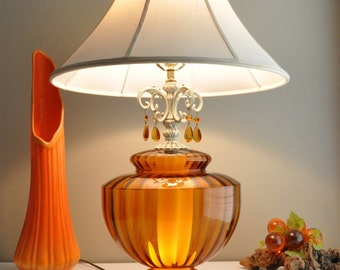 Vintage Optic Glass Lamp - Night- Light -Glass Prisms... SALE...was 175.00 FREE Ship
