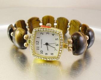 Tiger Eye Stretchy Watch with Rhinestone Studded Watch Face