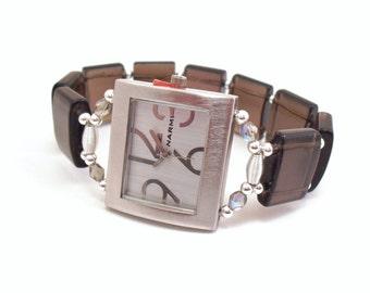 Smoky Quartz Stretchy Bracelet Watch