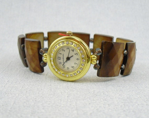 Beaded Bracelet Watch - Toffee Shell Stretchy Watch with Rhinestone Studded Watch Face