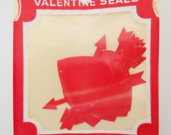 Dennison U.S.A. Valentines Letter gum seals- Hearts & Arrows