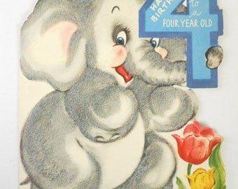 1950s Elephant- 4 year old's Birthday card
