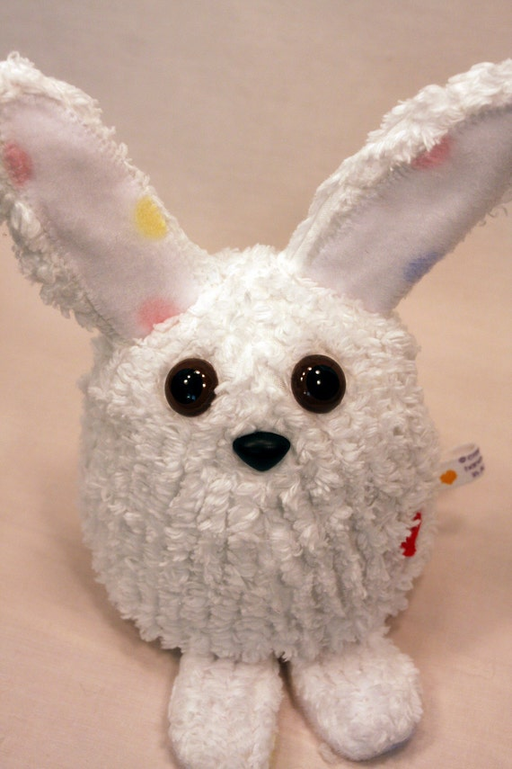 White  Easter Bunny Rabbit - Whee One - Small Stuffed Animal - Chenille Stuffed Toy - Plushie