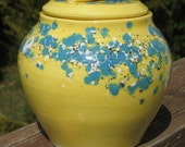 covered jar, yellow w/ turquoise crystals