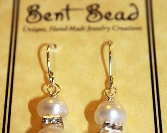 FREE SHIPPING---White Freshwater Pearl Earrings