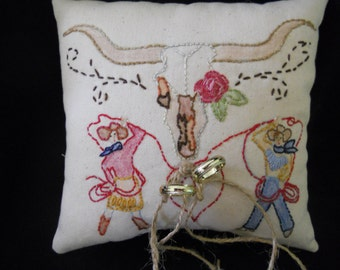 Country Western inspired ring bearer pillow /   Cowboy & Cowgirl