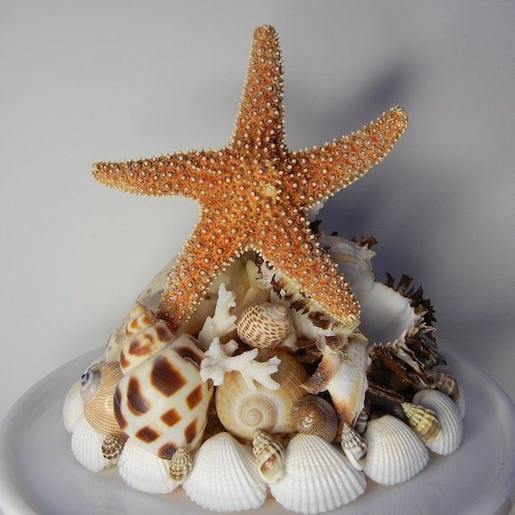 Wedding Cake Topper - Spice Island -  Seashell Starfish Wedding Cake Topper