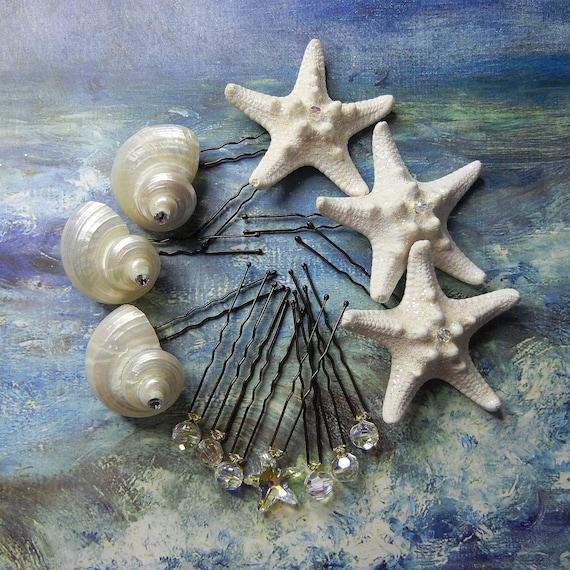 Starfish Seashell Crystal Hairpins - Mermaid's Crystal Treasure