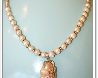 Hand made White fresh water pearls with sterling silver beaded rondelle