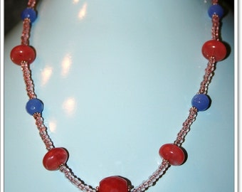 Carnelian and blue crystal necklace with pink glass beads