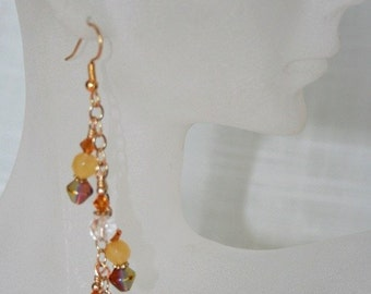 Gold and fresh water pearls earrings