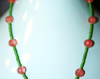 Handmade Necklace with carnelian and green glass beads