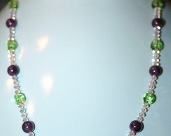 Hand made necklace with Chinese Chrysoprase and glass beads