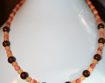 Hand made necklace with cat's eye and jade semi precious stones