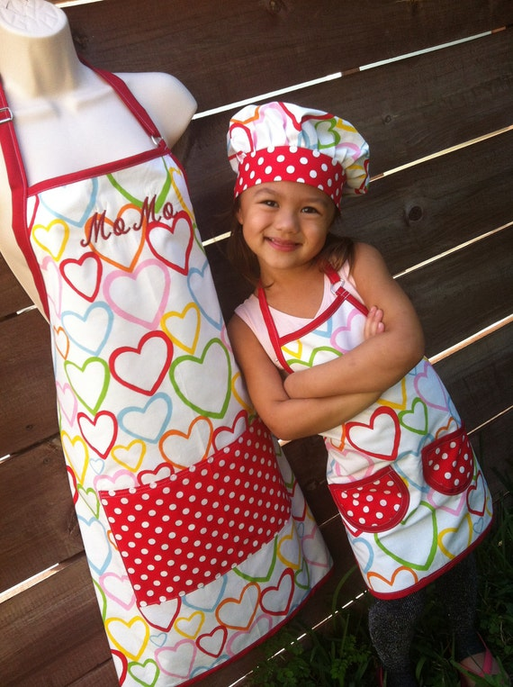 Hearts Mom And Daughter Apron Set Aprons Only