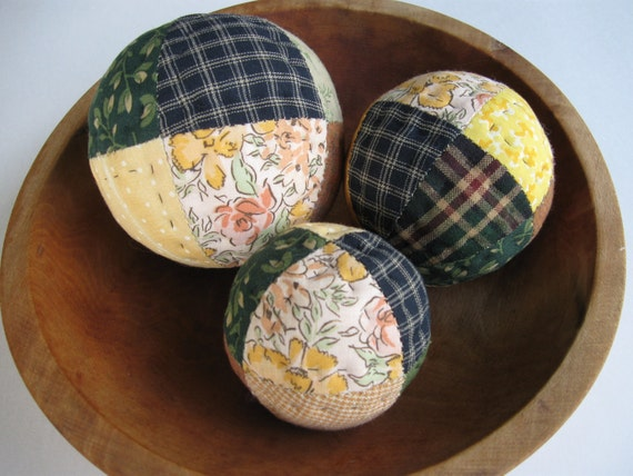 Patchwork Quilted Ball Bowl Fillers Primitives Country Rustic Decor Country Decor Farmhouse Decor
