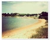 Beach Photography, Cape Cod Beach Photography, Ocean Decor, Nautical seaside photo, retro vintage style, yellow blue sunshine, New England