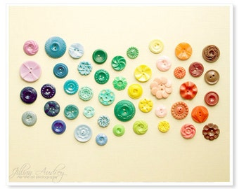 Rainbow Buttons Photograph, Fine Art Photography, nursery décor, Colorful Graident, Vintage Buttons, Kids Room Art, Cheery Fun, Cute Photo