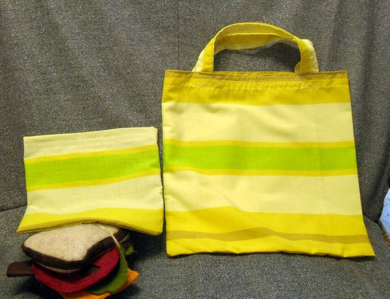 Reusable Sandwich N Lunch Bag Set, Large Yellow N Green Stripe Print
