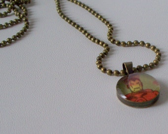 Necklace IRONMAN from a vintage comic book RECYCLED into long antiqued brass pendant necklace