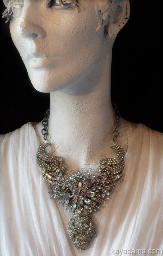 Bespoke Necklace. Downpayment for a Kay Adams Custom Bridal Rhinestone Wedding Sculpture or Runway Necklace.