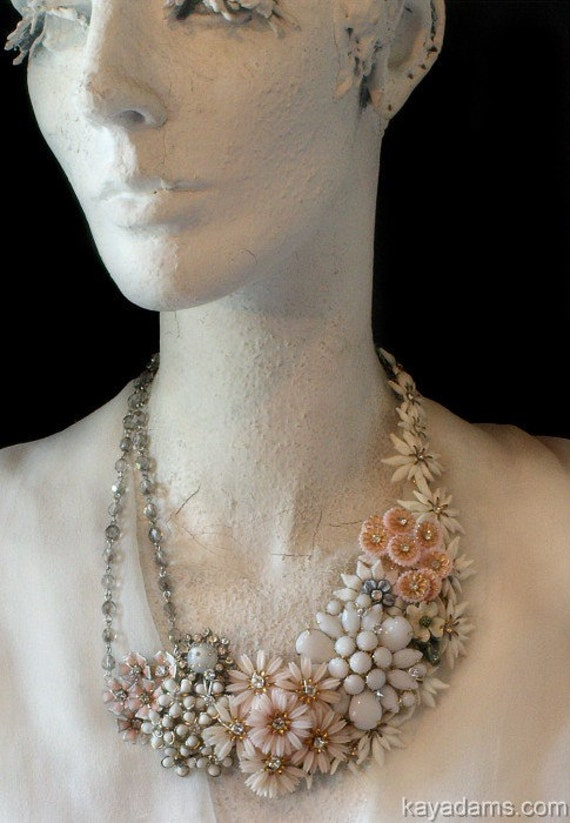 Bridal Bliss Necklace. Paris Necklace. Pale Pink, Soft White.  A Palette of Incomparable Beauty. Downpayment for Custom Collage. Kay Adams