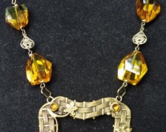 Vintage Art Nouveau Necklace--AmberTopaz