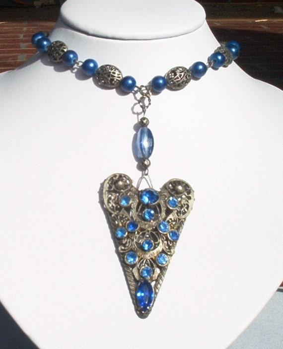 Vintage Sapphire Blue Rhinestone Heart Necklace  Beautiful