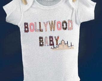 india baby shirt - vintage design BOLLYWOOD BABY - baby white bollywood theme one piece