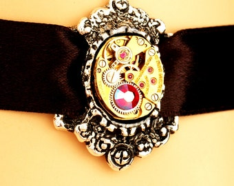Steampunk Neo Victorian Choker - Adjustable - Petite, Vintage, Repurposed Watch Movement Choker Necklace In Gold And Silver With Red Crystal