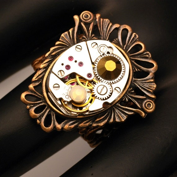 On Time - Steampunk Watch Ring With Filigree - Adjustable - Vintage Watch Movement Ring On A Brass Shield - Unisex