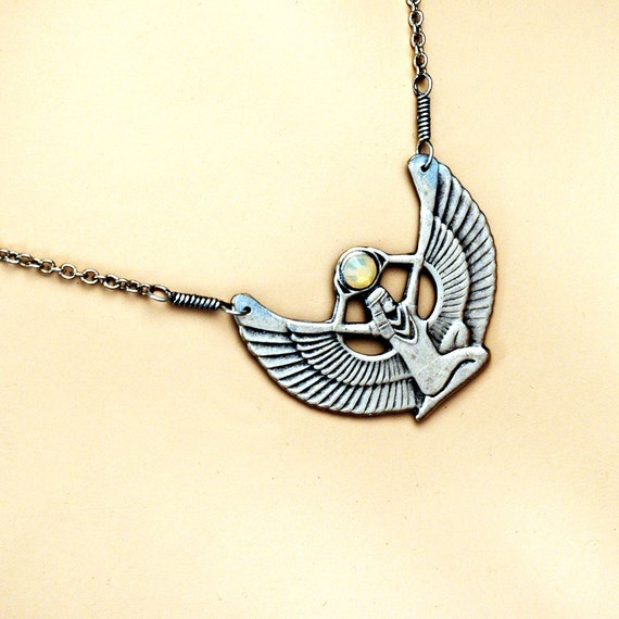 Isis Necklace - Ancient Egyptian Goddess Isis With Bird Wings Holding The Solar Disk Sun In Antique Silver With A Swarovski Crystal