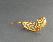Sterling Feather Brooch . Large 1940s Lang Vermeil . Gold Finish .