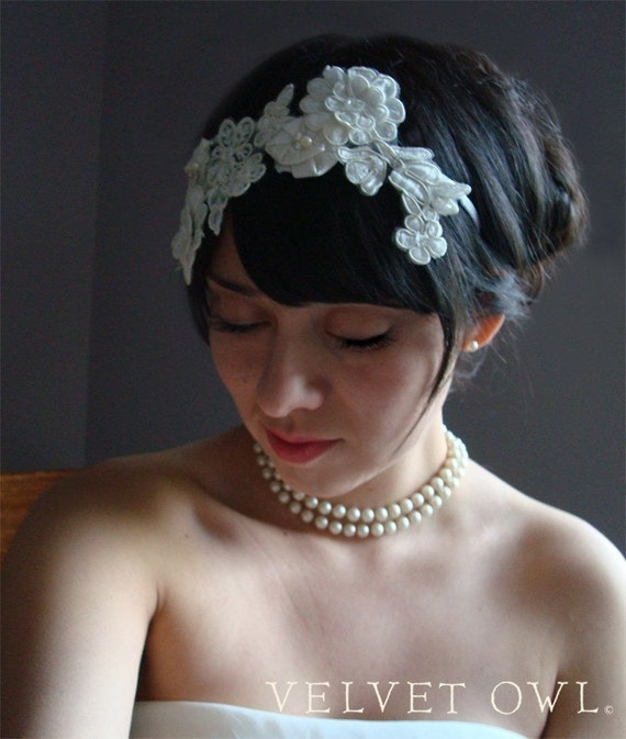 Bridal headband, bridal lace headband, lace headband, wedding headband, bridal veil, mini birdcage veil, mini veil, tulle OR french netting,