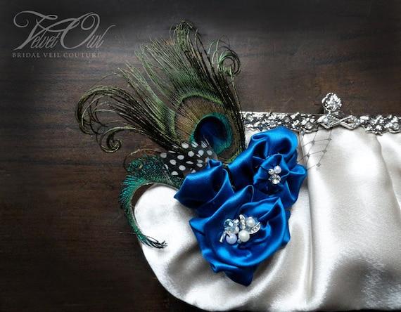 Bridal clutch purse bag Royal gem blue satin flowers peacock flower Champagne wedding SALE  - ANASTASIA