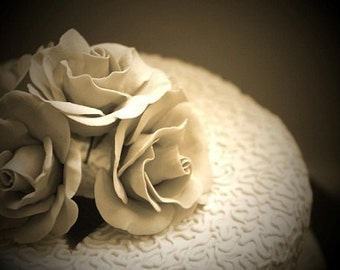 Romantic Wedding Cake Sepia Photograph - A4 - love, roses, shabby chic, vintage, flowers, romance