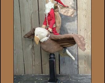 Folk Art Santa on Flying eagle make do pdf digital epattern -429
