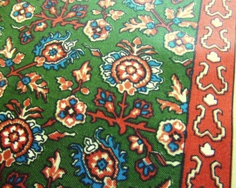 Vintage Silk Scarf in Persian Design Green Brown Blue by Echo