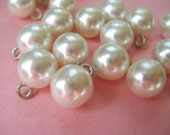 Vintage Buttons or Beads or Charms - 11 Pearl Bangle Balls in Two Different Sizes for Jewelry or Wedding