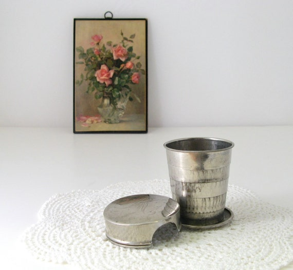 Vintage Collapsible Metal Cup, Victorian Pocket Tumbler, Antique Travel Drinkware, Initial K, Telescoping Cup, Picnic, Camping Chic