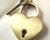Heart Lock Necklace with key