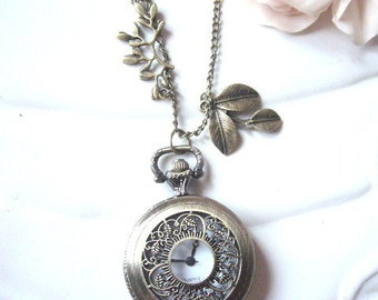 Pocket Watch Necklace, Alice in the Wonderland