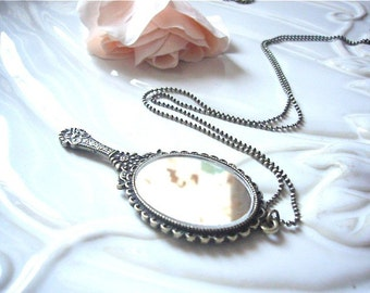 Antique Brass Classic Mirror Pendant Necklace