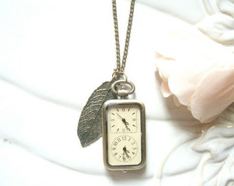 Double Clock Pendant Necklace. pocket watch